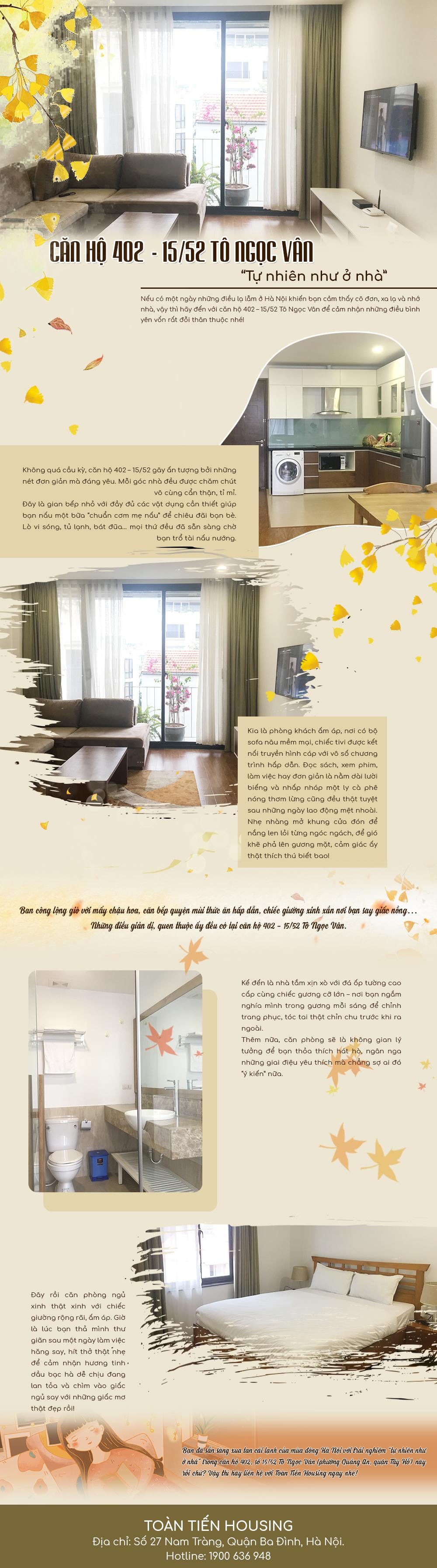 [Infographic]: Căn hộ 402 - 15/52 Tô Ngọc Vân - Tự nhiên như ở nhà